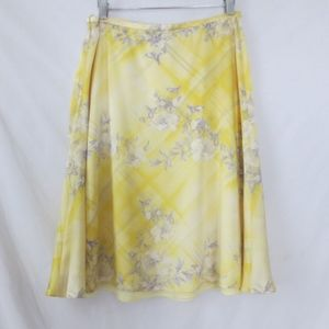 ESCADA designer upscale yellow floral silk skirt